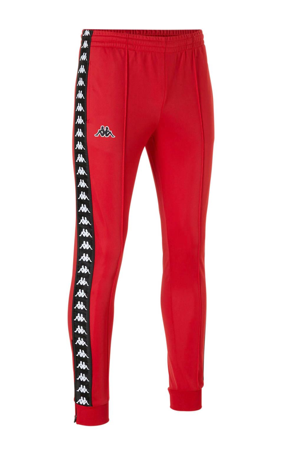 Kappa trainingsbroek met zijstreep rood/zwart, Rood/zwart