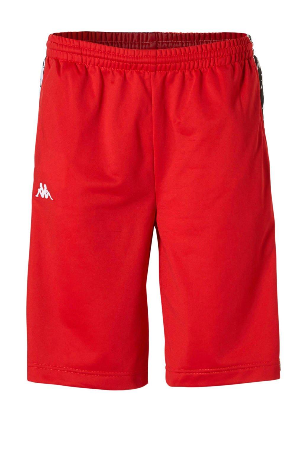 Kappa   short met zijstrepen rood/zwart, Rood/zwart