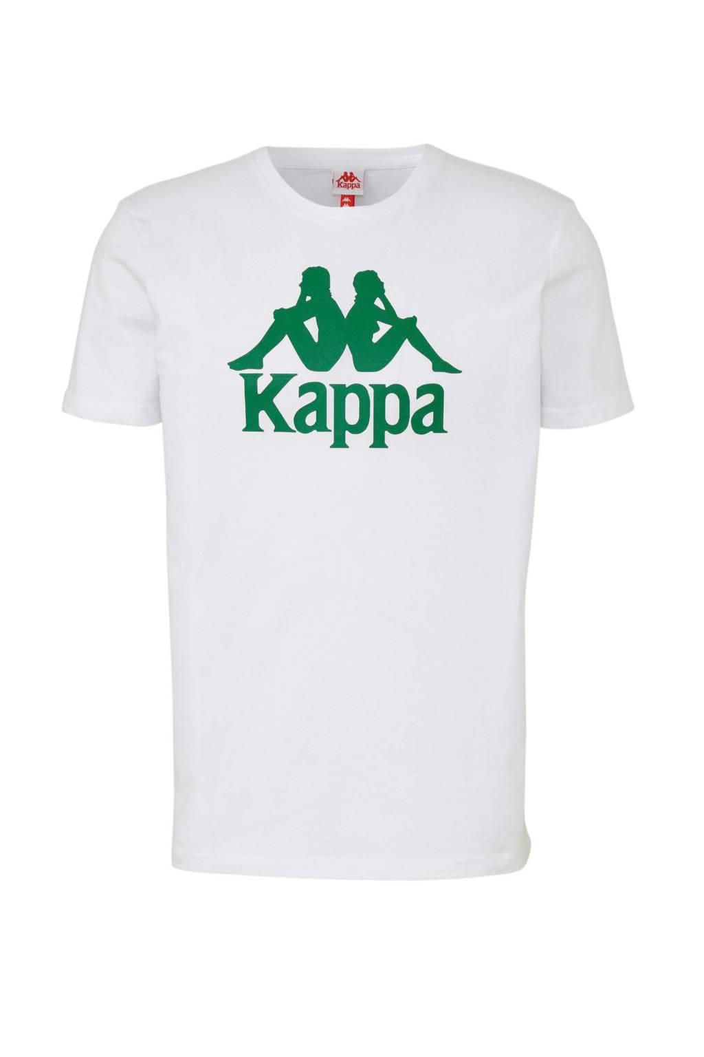 Kappa   T-shirt met printopdruk wit/groen, Wit/groen