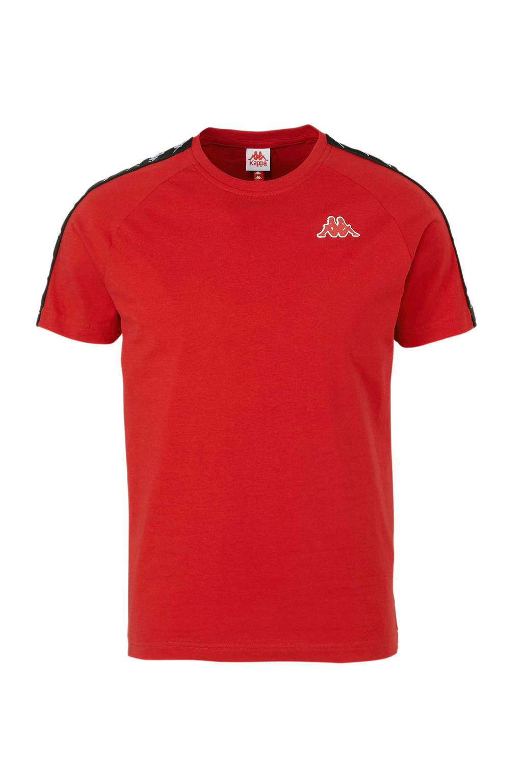 Kappa   T-shirt met contrastbies rood/zwart, Rood/zwart
