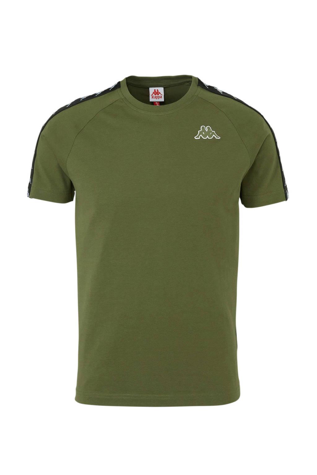 Kappa   T-shirt met contrastbies groen/zwart, Groen/zwart