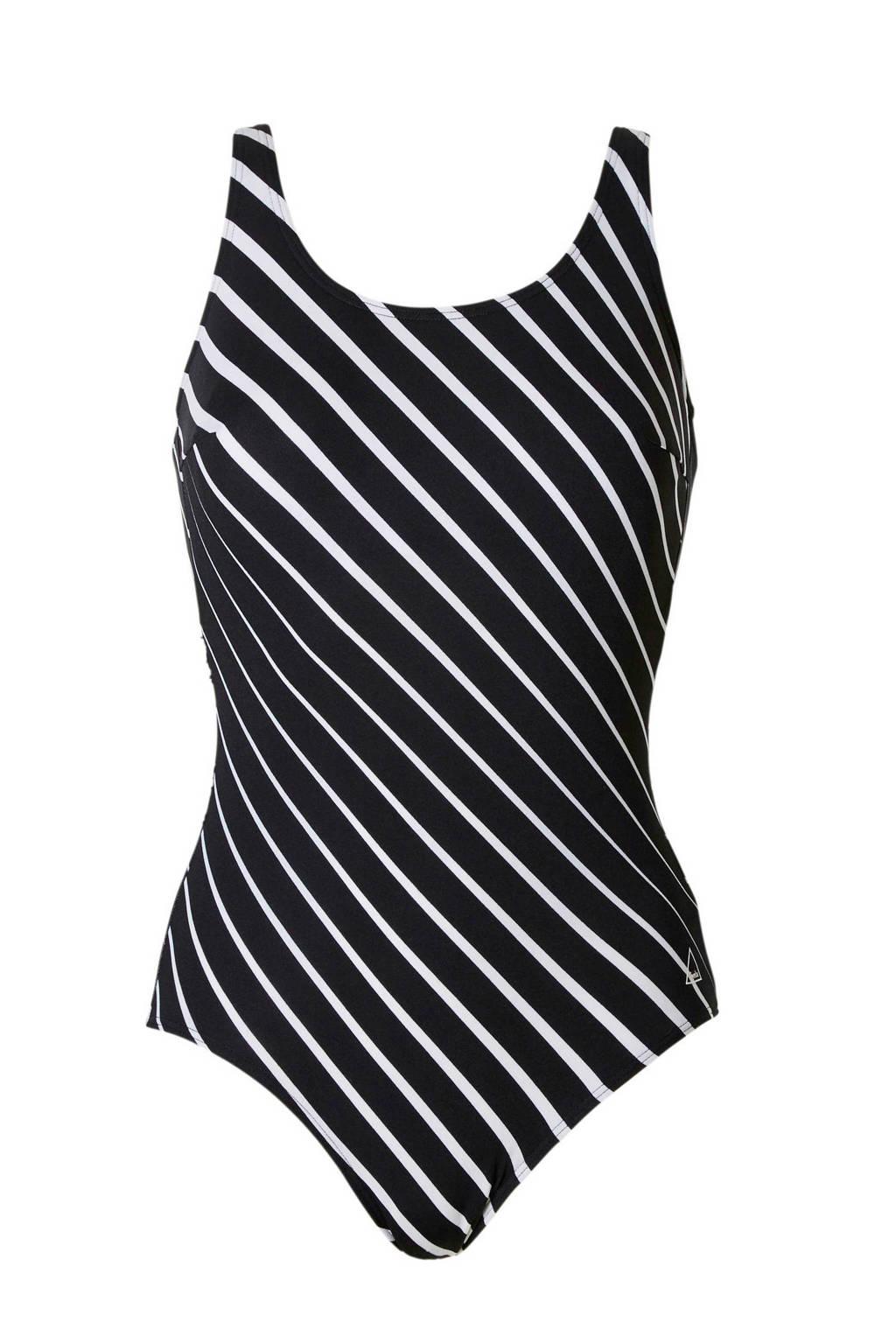 Tweka badpak met streepdessin zwart/wit, Zwart/wit