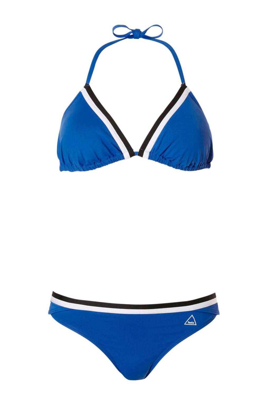 Tweka triangelbikini blauw, Blauw/zwart/wit