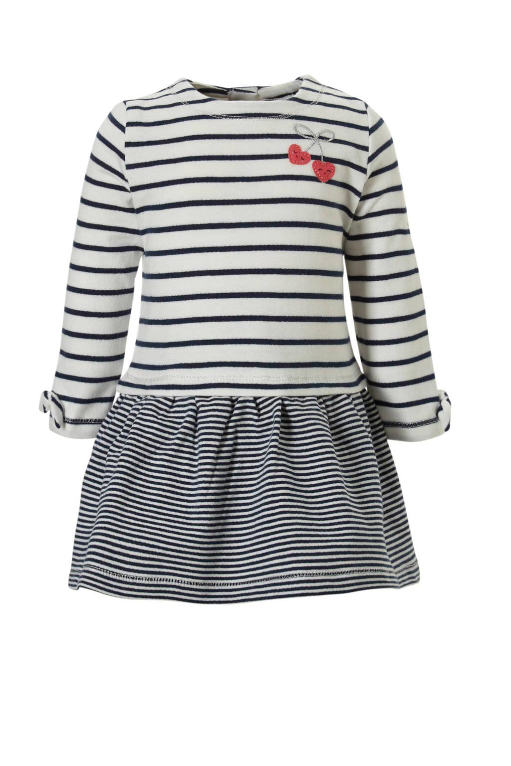 C&A Baby Club gestreepte jurk ecru/blauw, Ecru/donkerblauw