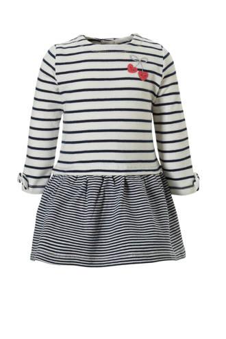 Baby Club gestreepte jurk ecru/blauw