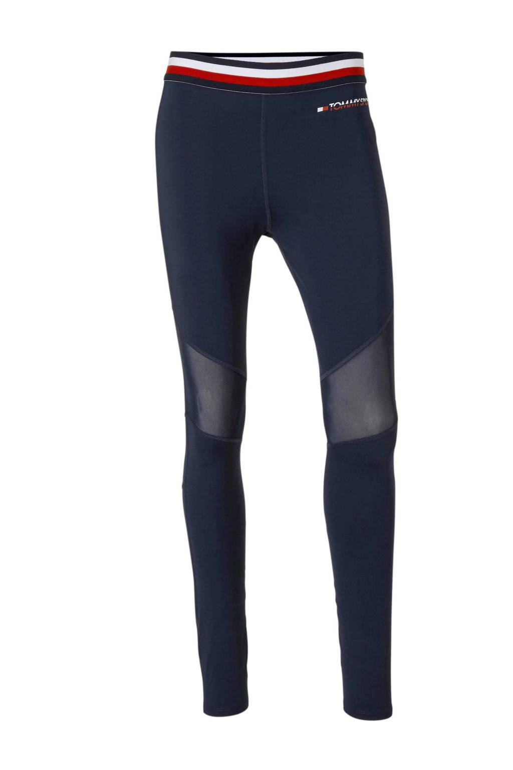 Tommy Sport sportbroek donkerblauw/rood/wit, Donkerblauw/rood/wit