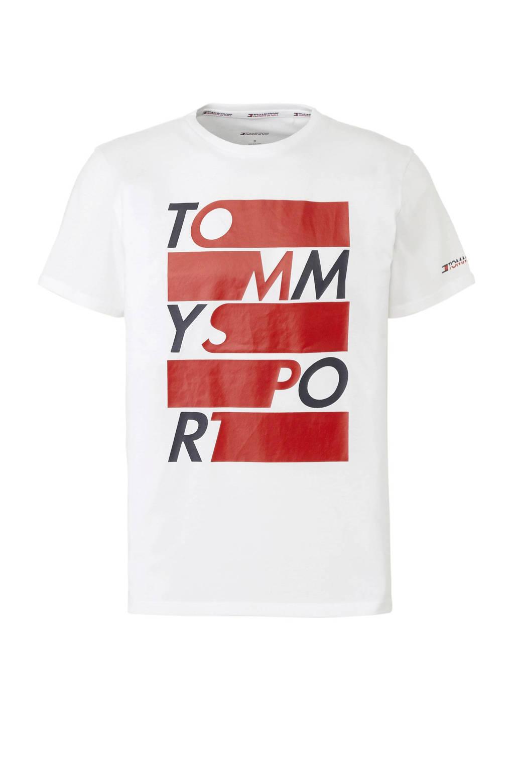 Tommy Sport   sport T-shirt met printopdruk wit, Wit