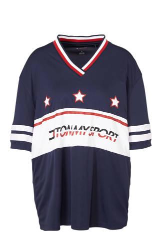 Sport sport T-shirt met printopdruk donkerblauw