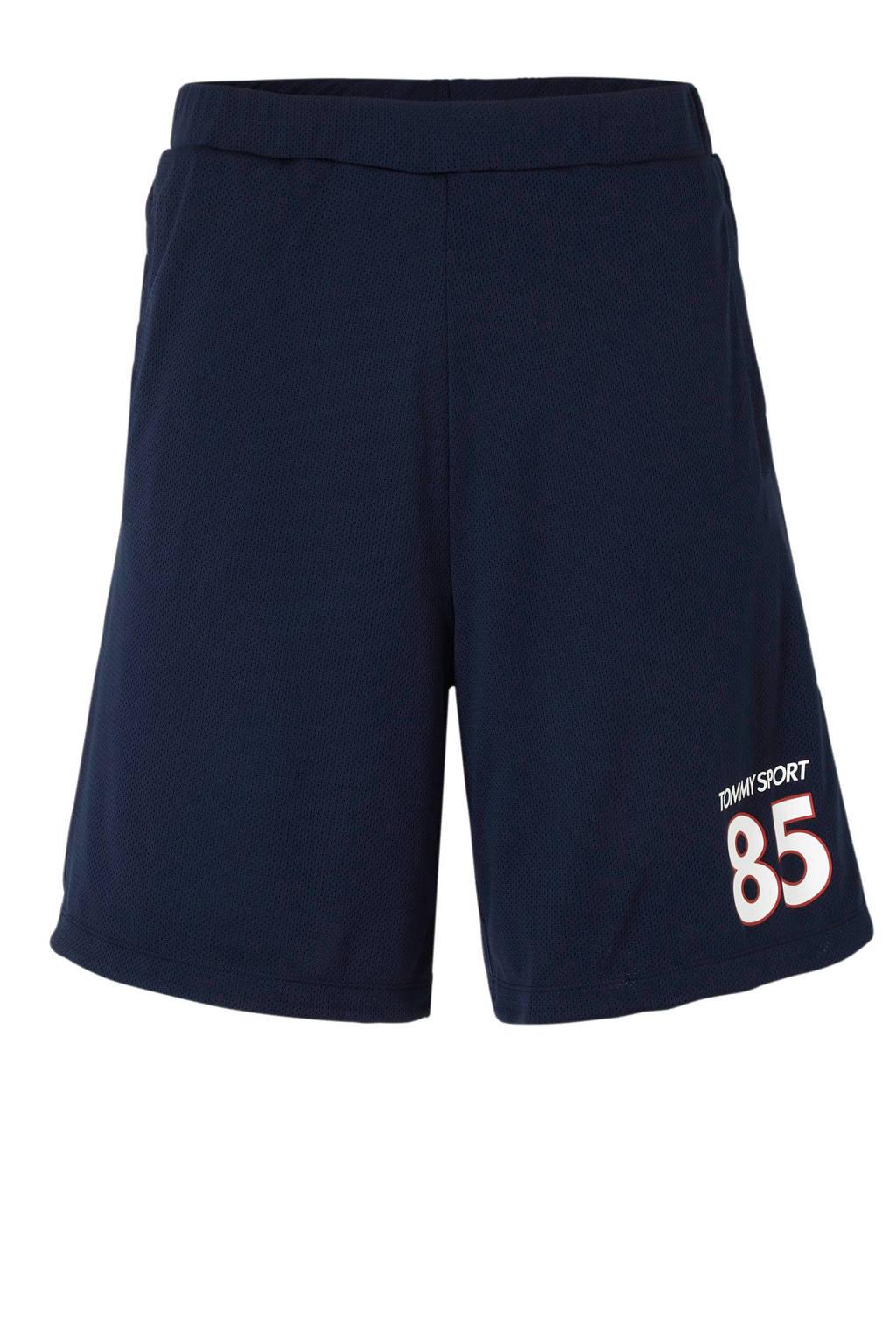 Tommy Sport   sportshort met printopdruk donkerblauw, Donkerblauw