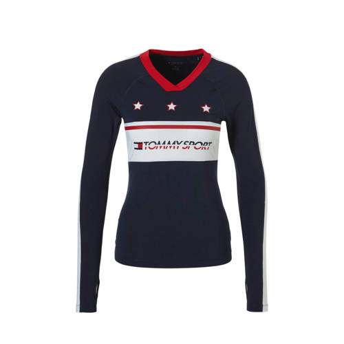 Tommy Sport sport T-shirt met printopdruk donkerblauw kopen