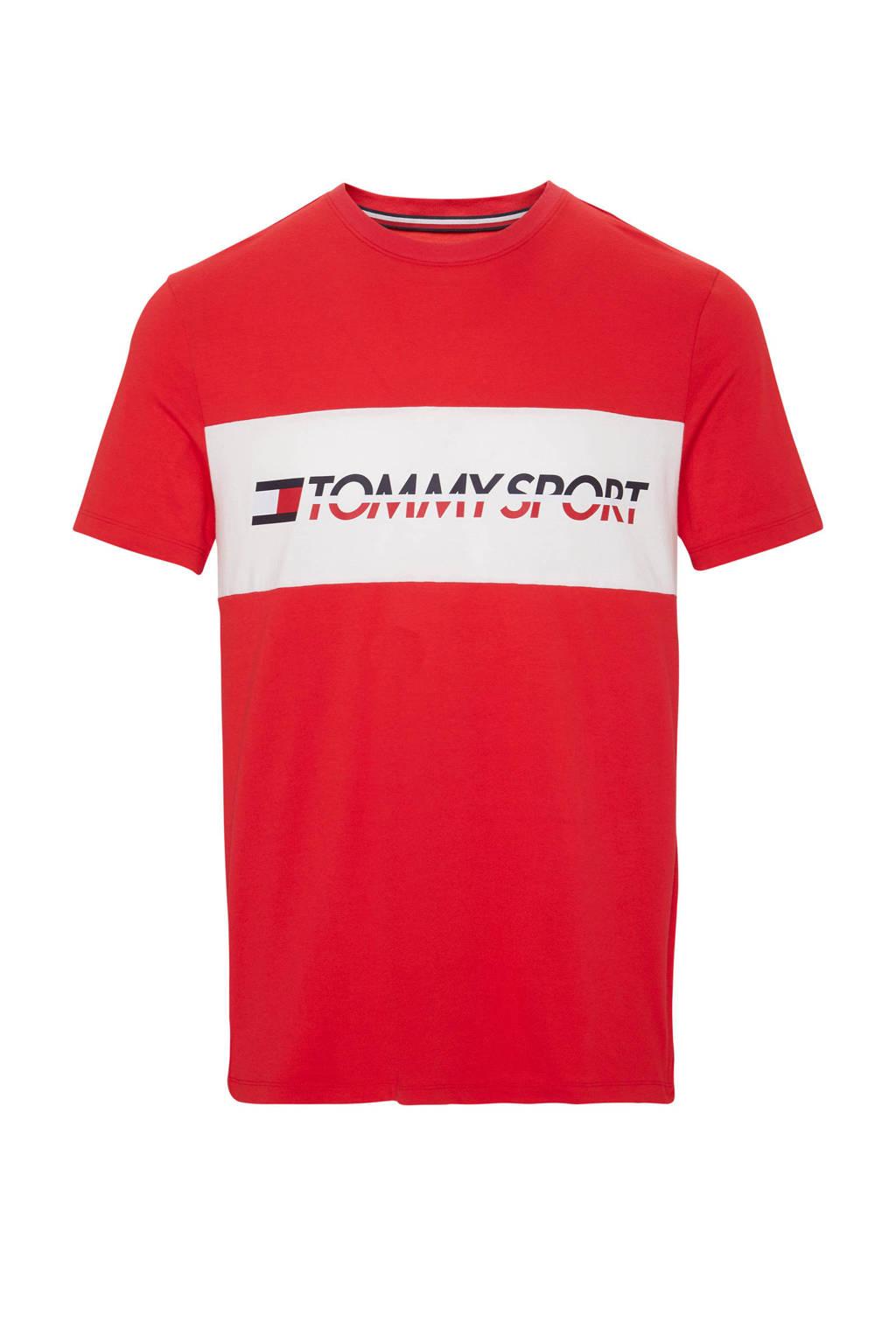 Tommy Sport   sport T-shirt met tekstopdruk rood, Rood