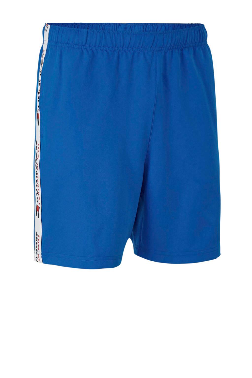 Tommy Sport   sportshort met zijstrepen blauw, Blauw
