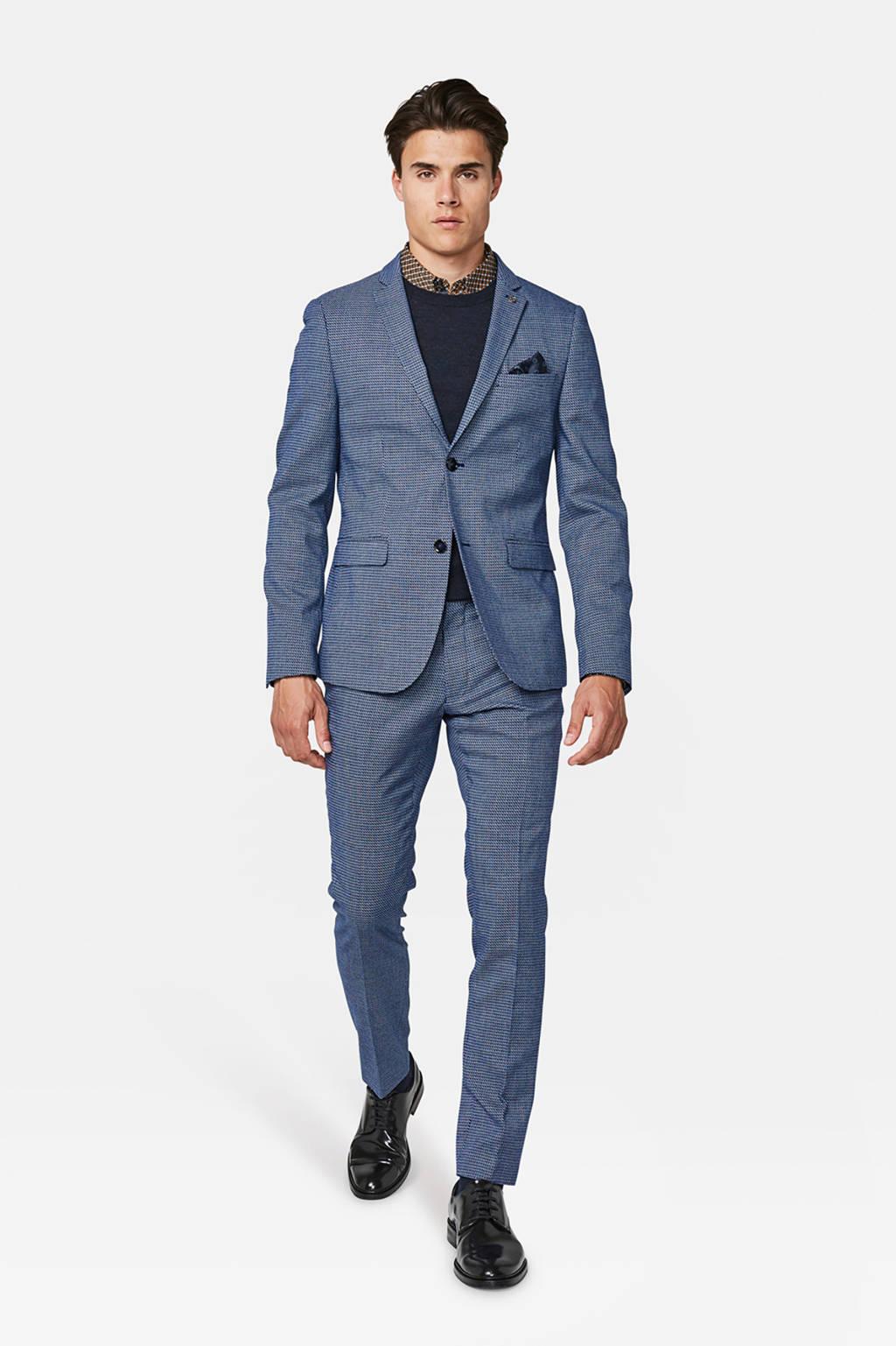 WE Fashion super slim fit colbert met all over print blauw, Blauw