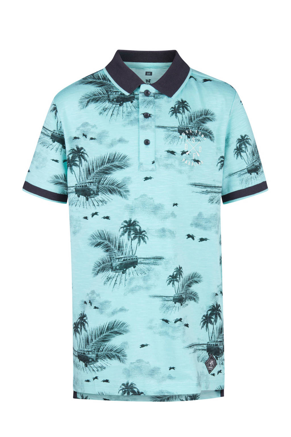 WE Fashion polo met all over print blauw, Lichtblauw