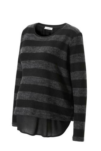 Yessica zwangerschaps fleecetrui met blousedetail zwart