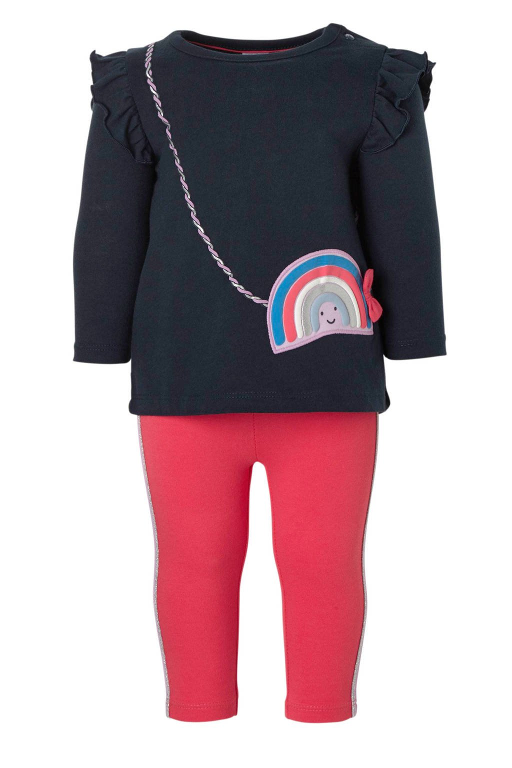 C&A Baby Club longsleeve + legging, Donkerblauw/roze