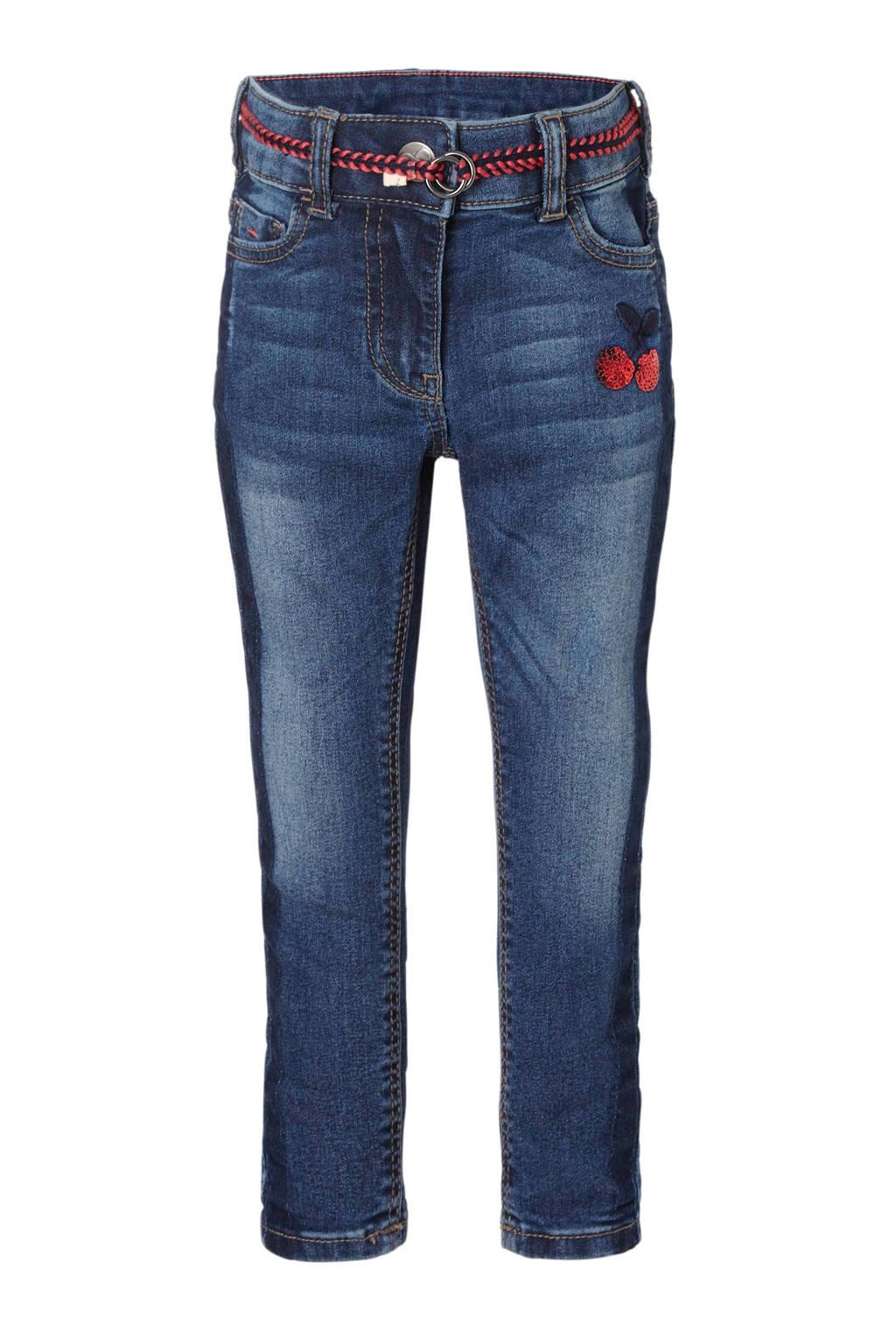 C&A Palomino super skinny jeans met ceintuur, Dark stonewashed