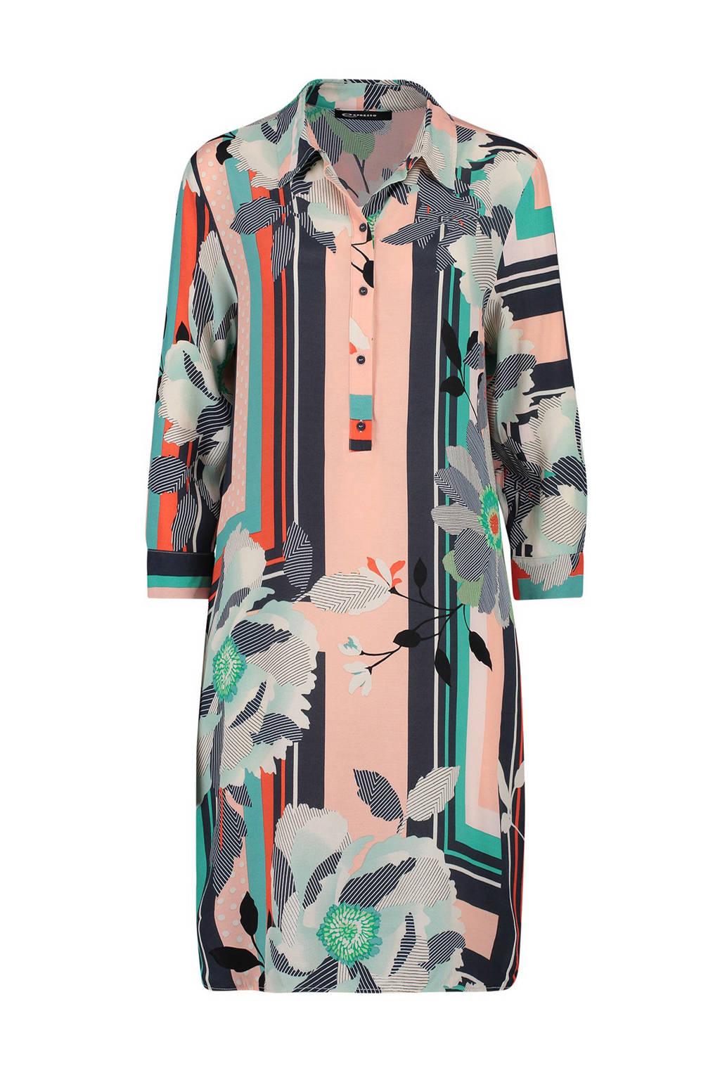 Expresso jurk Denver met all over print roze, Multi