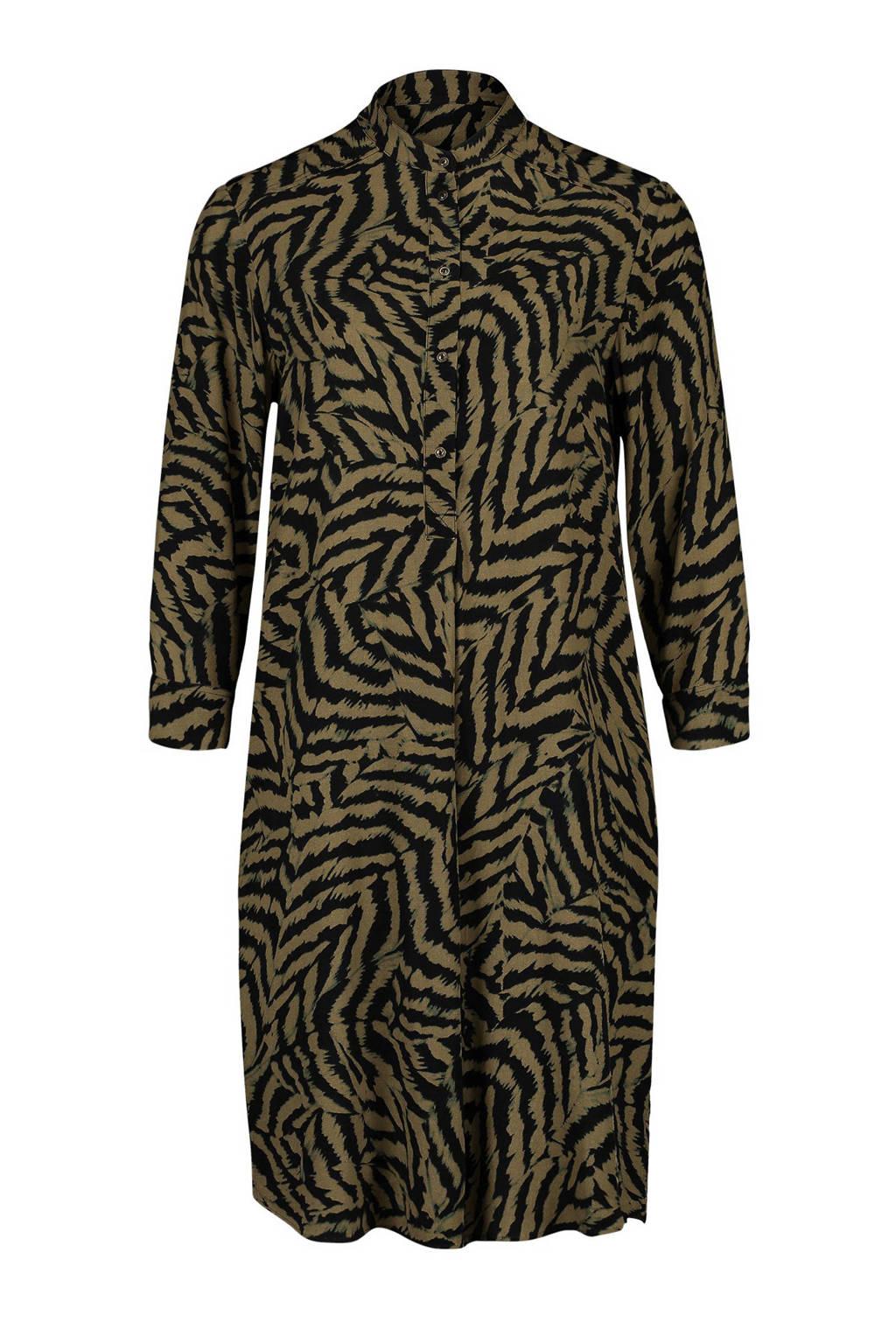 Expresso blousejurk met tijgerprint kaki, Kaki