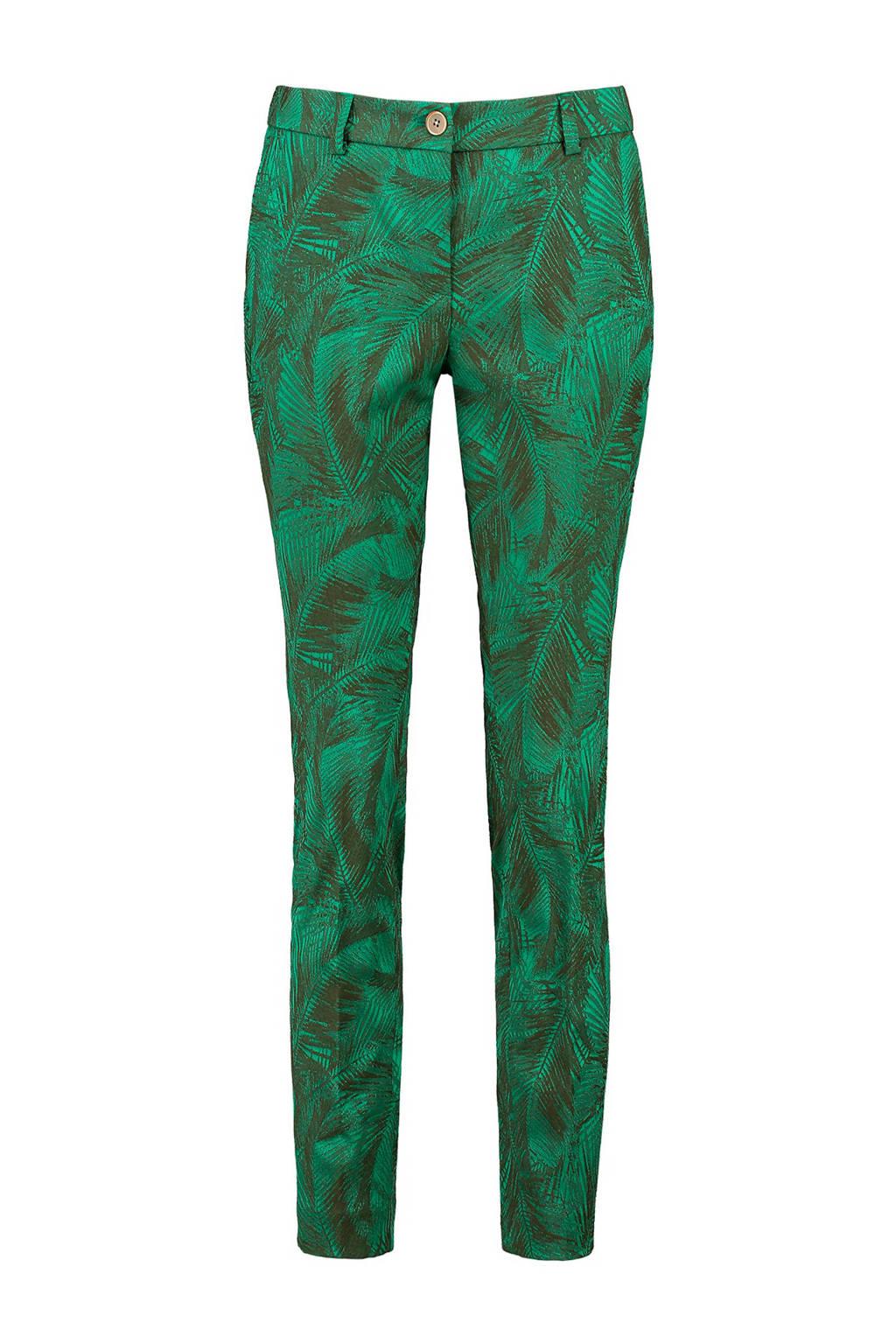 Expresso jaquard broek Bloem met bladdessin groen, Donkergroen