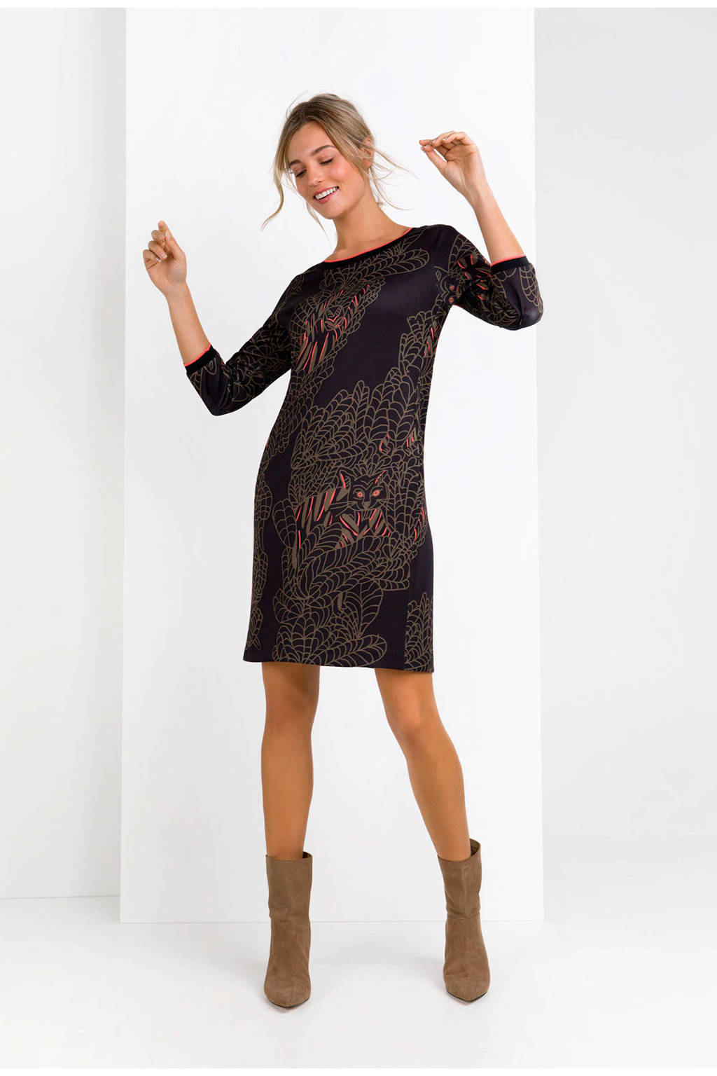 Expresso scuba jurk met allover print zwart, Zwart