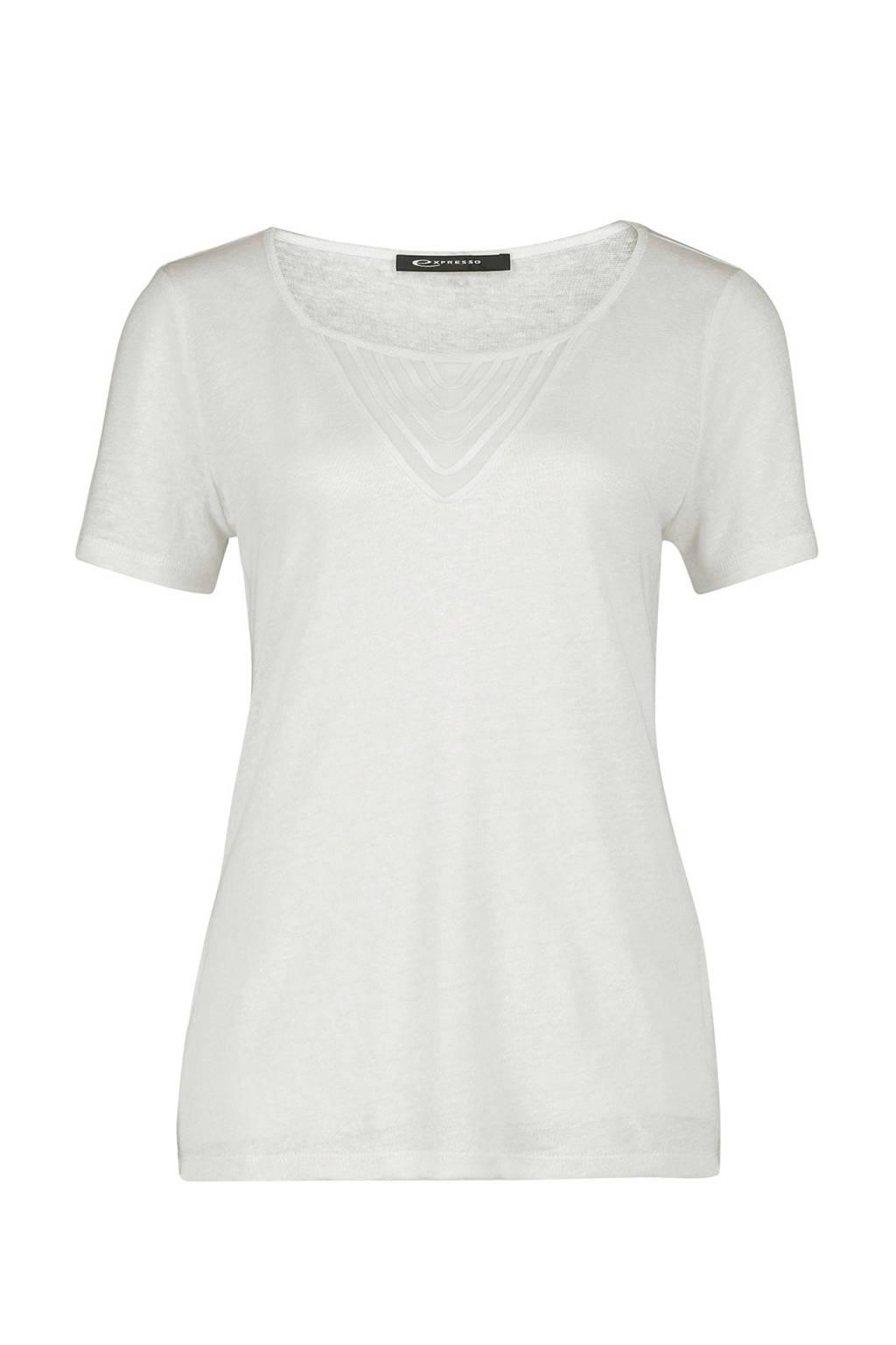 081061eb5c9 Expresso linnen T-shirt Bibi gebroken wit   wehkamp