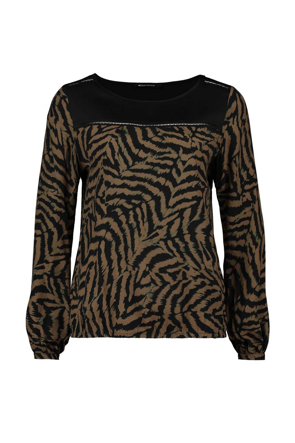 Expresso top met tijgerprint kaki, Kaki