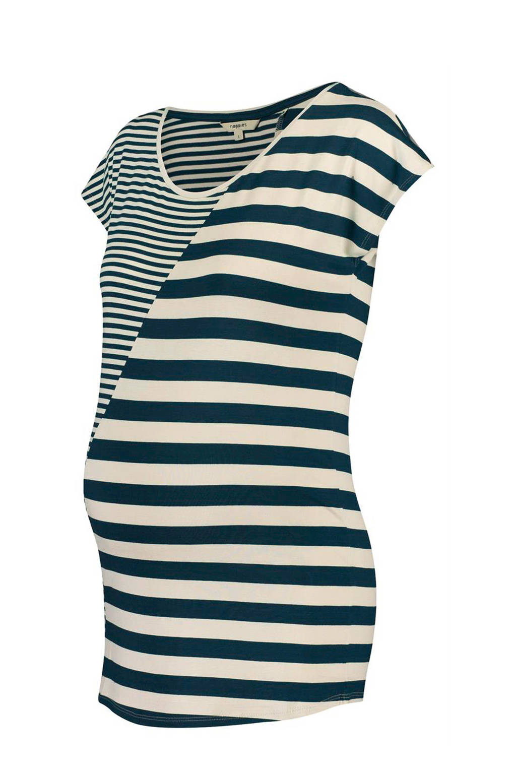 Noppies gestreept zwangerschaps T-shirt Pearle blauw, Donkerblauw/ecru
