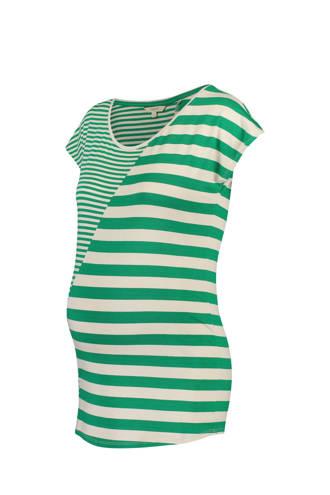 gestreept zwangerschaps T-shirt Pearle groen