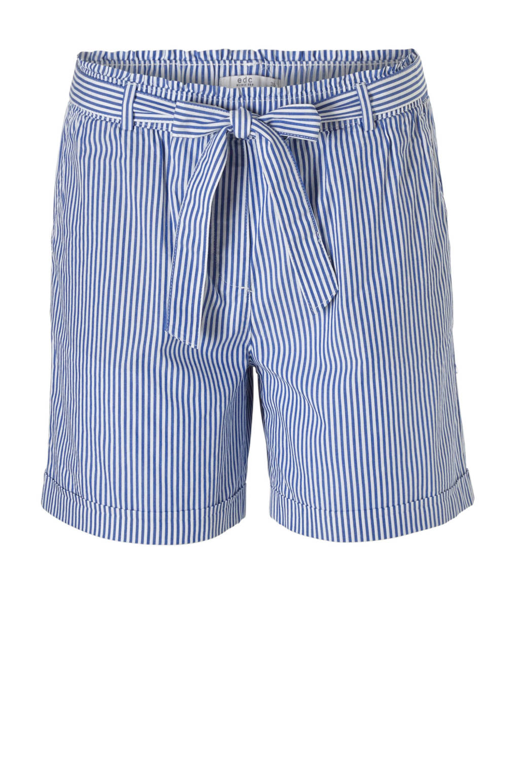 edc Women gestreepte korte broek blauw, Blauw/wit