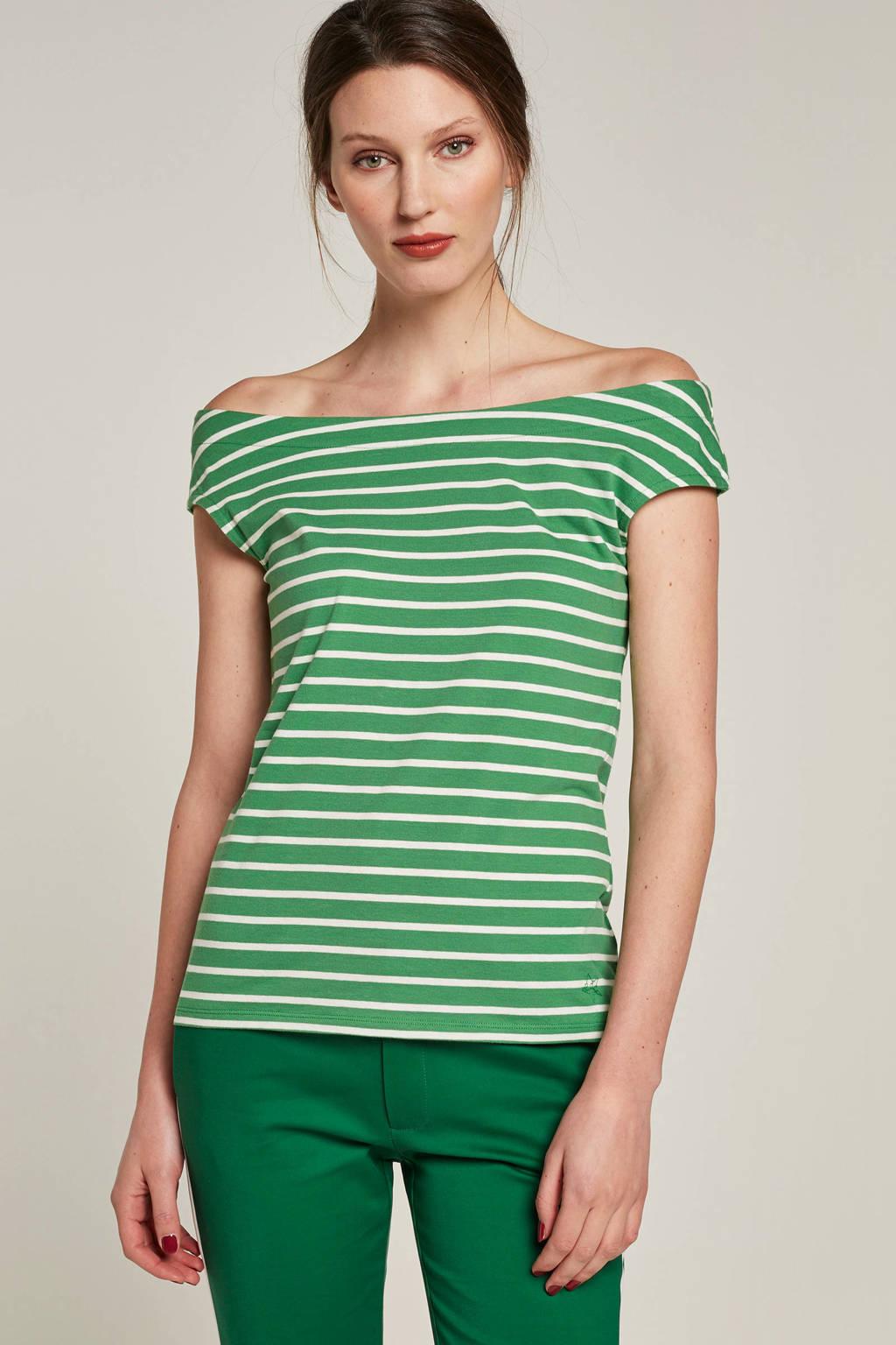 edc Women gestreepte off shoulder top groen, Groen/wit