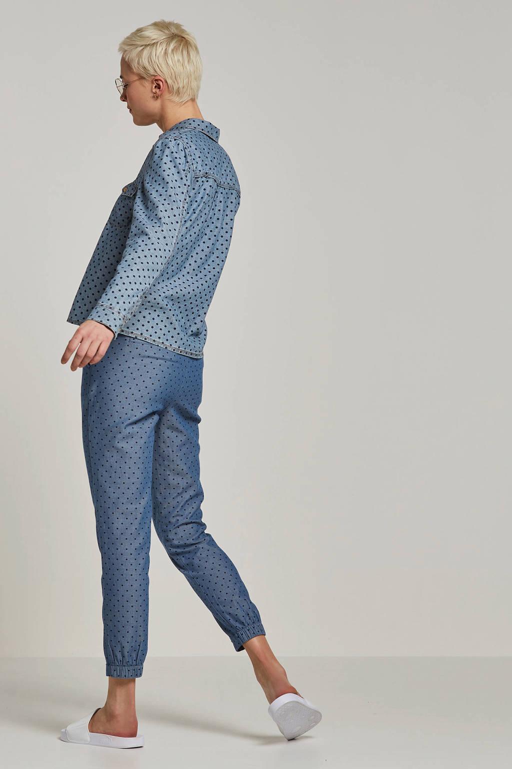 ESPRIT Women Casual slim fit gestipte broek blauw, Blauw/zwart