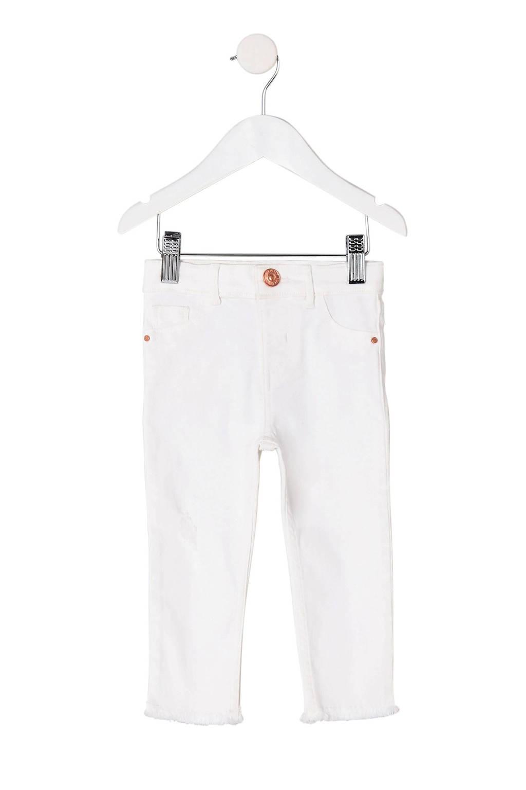River Island skinny fit broek met rafels wit, Wit