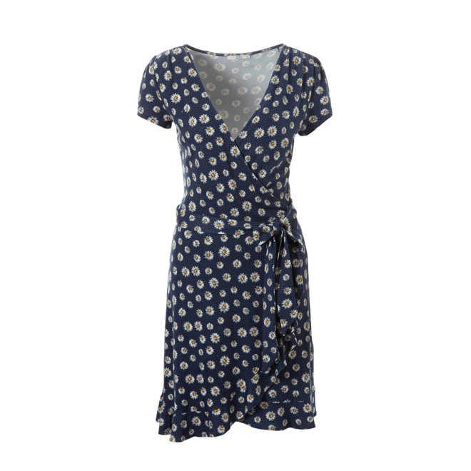 73bfb275cabc98 edc Women jurk met bloemenpint en bindceintuur
