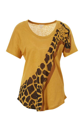 Women Casual T-shirt met giraffe print