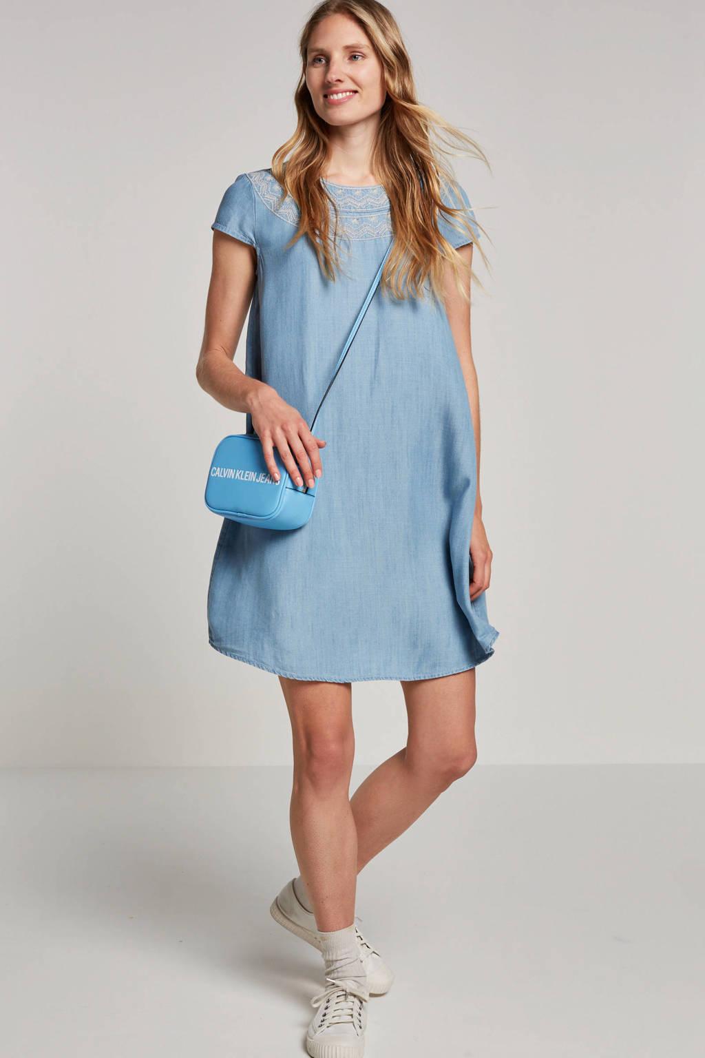 edc Women jurk met borduursels, Lichtblauw