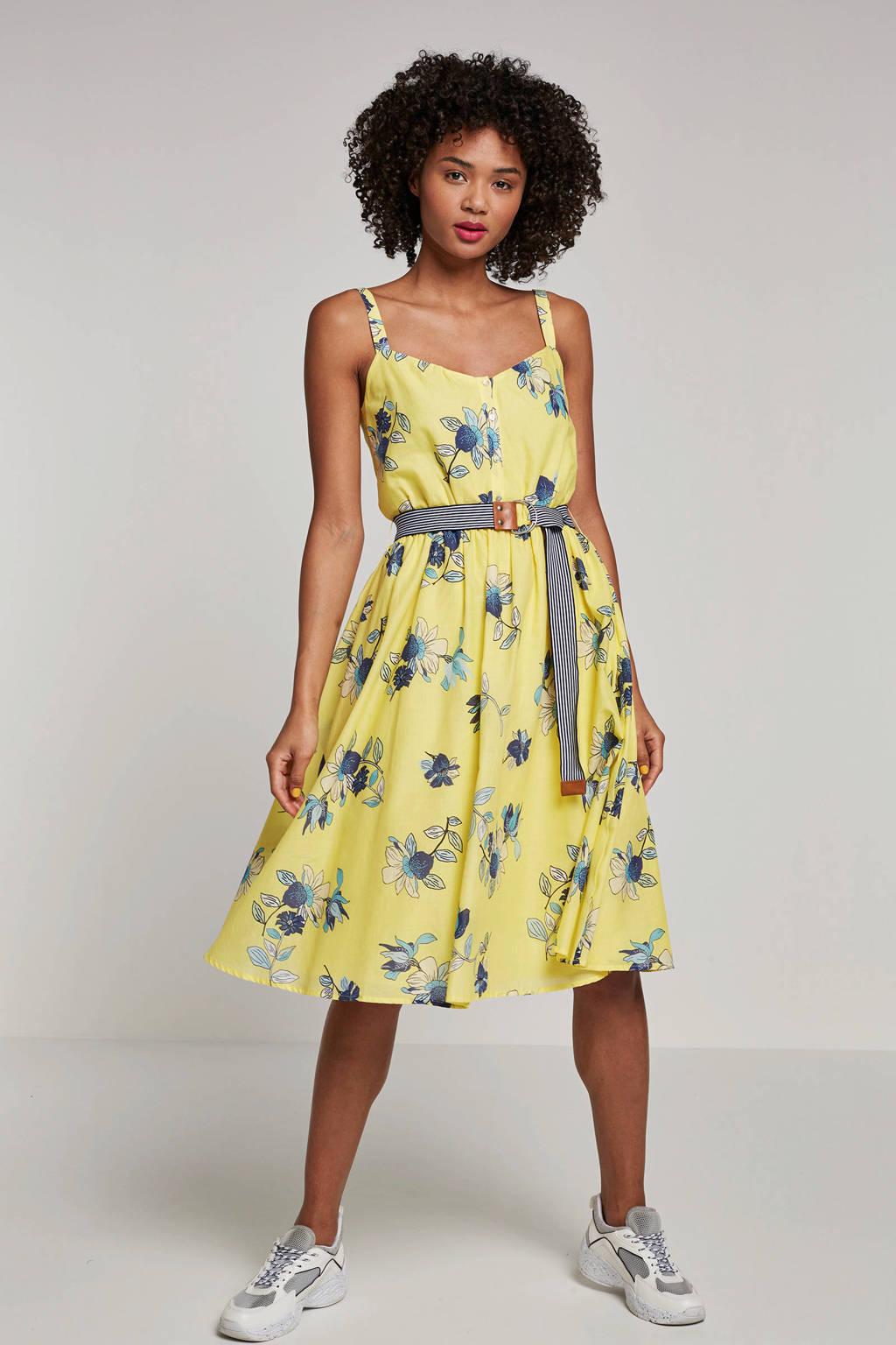 edc Women gebloemde A-lijn jurk met ceintuur geel, Geel/blauw