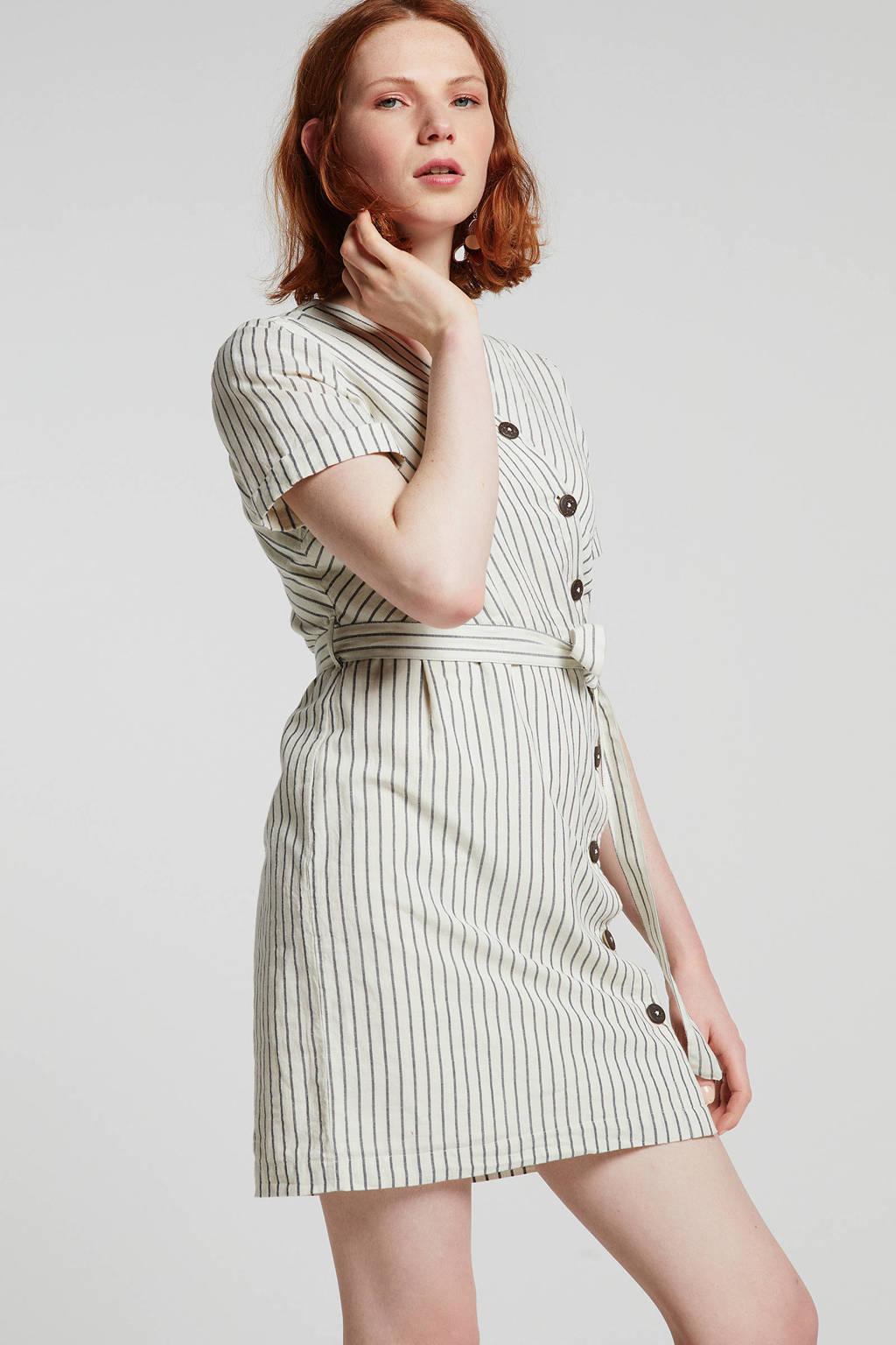 ESPRIT Women Casual gestreepte jurk wit, Wit/grijs