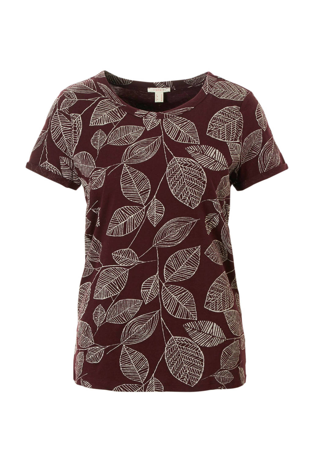 ESPRIT Women Casual T-shirt met bladprint, Rood/wit