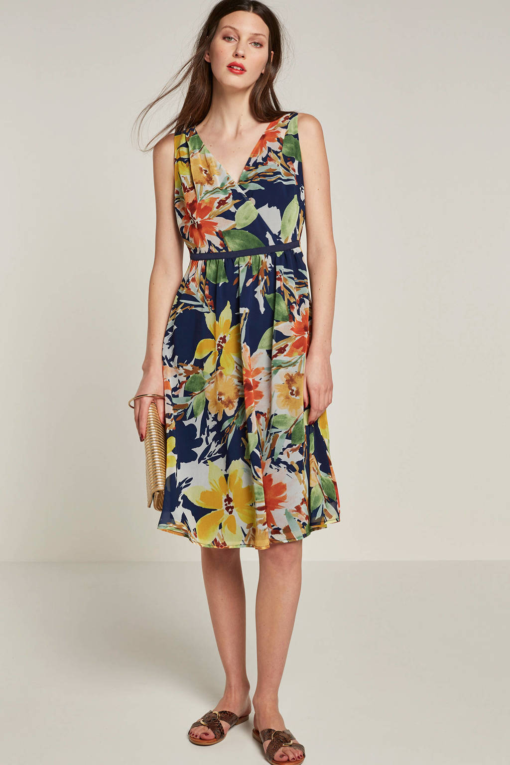 ESPRIT Women Collection gebloemde A-lijn jurk, Mulit