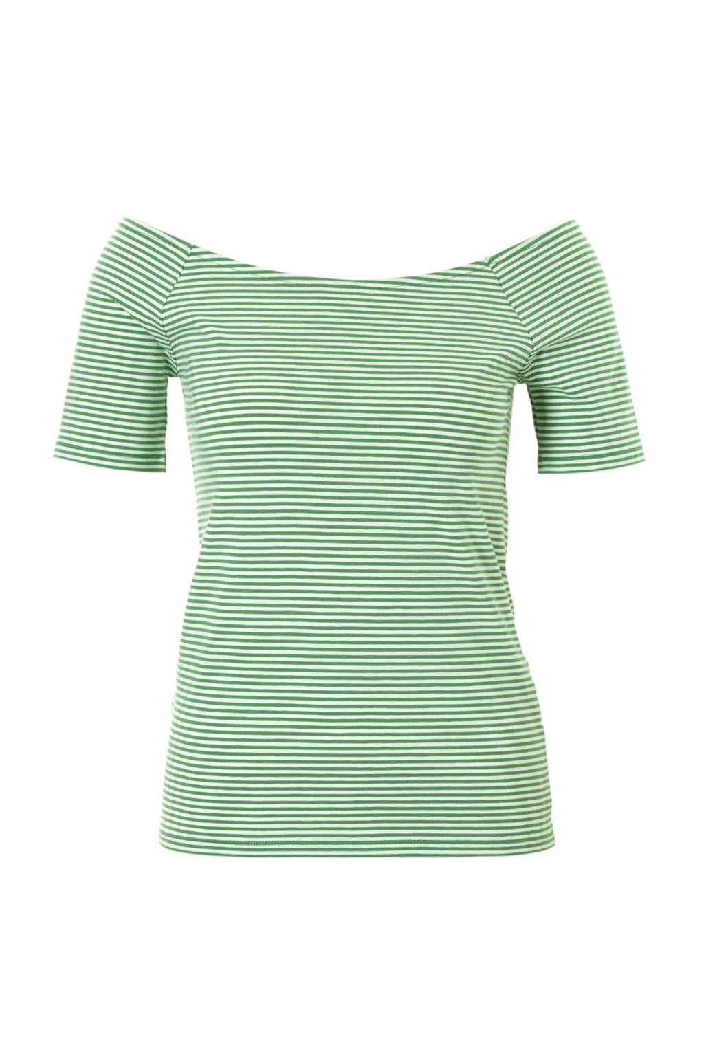edc Women gestreepte off shoulder top groen, Groen
