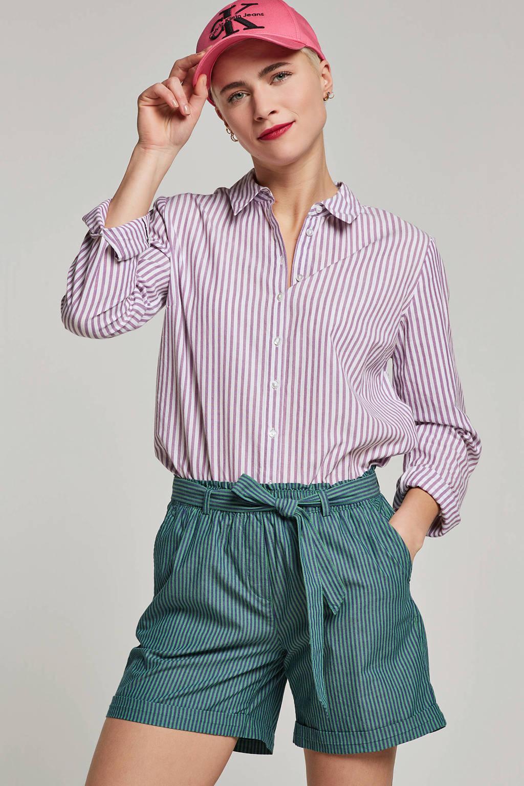 edc Women gestreepte korte broek groen, Groen