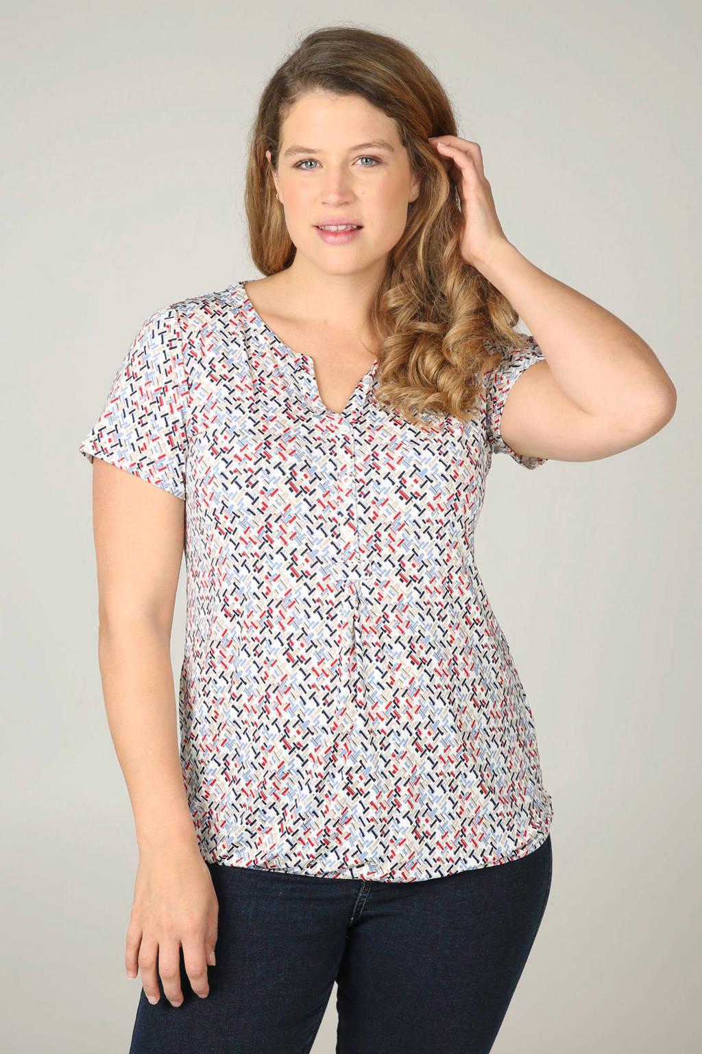 Paprika T-shirt met allover print, Lichtblauw