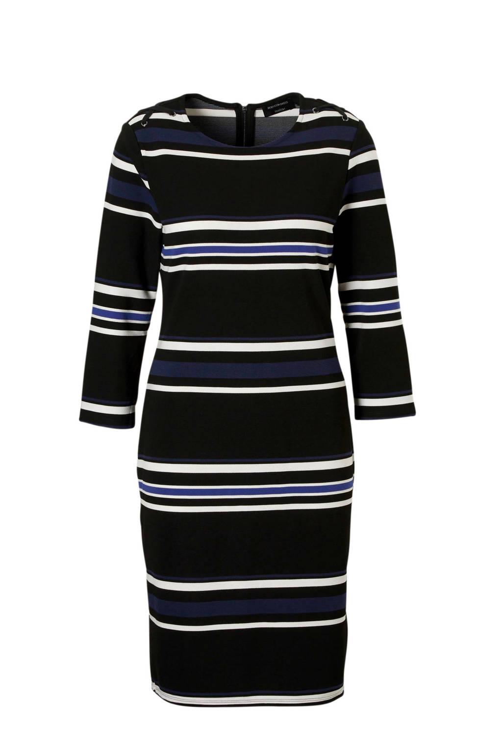 C&A Yessica jurk met sier veters zwart, Zwart/ blauw/ wit