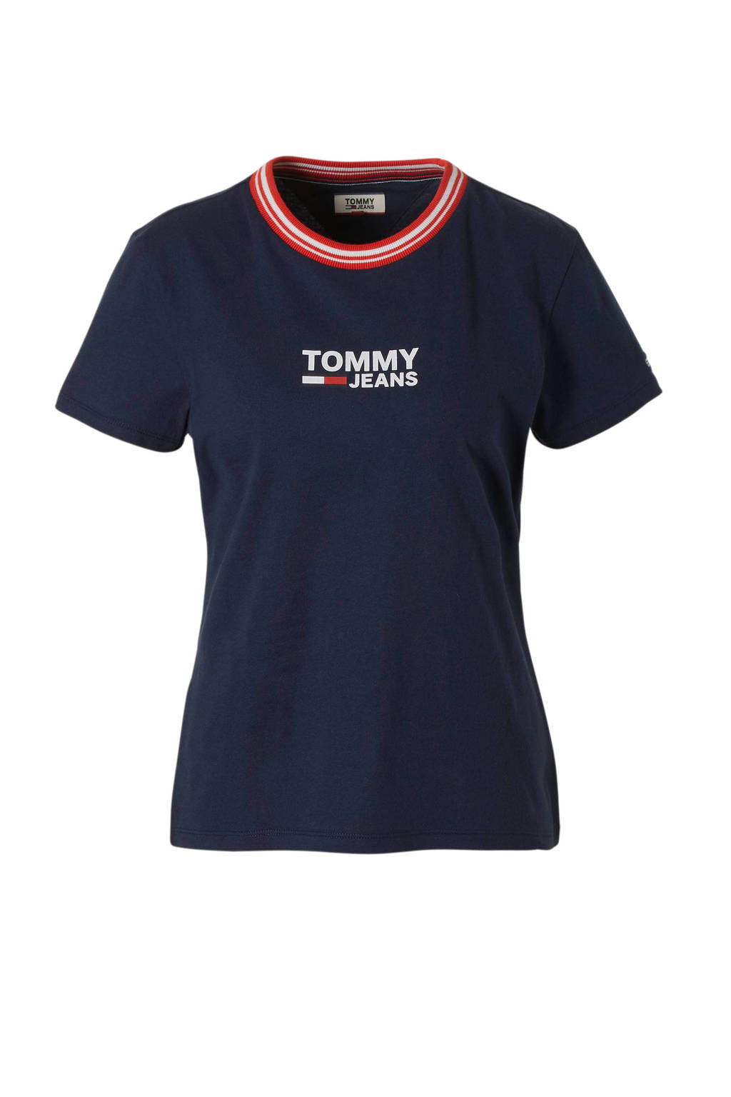 Tommy Jeans T-shirt rood met logo print, Donkerblauw/rood/wit