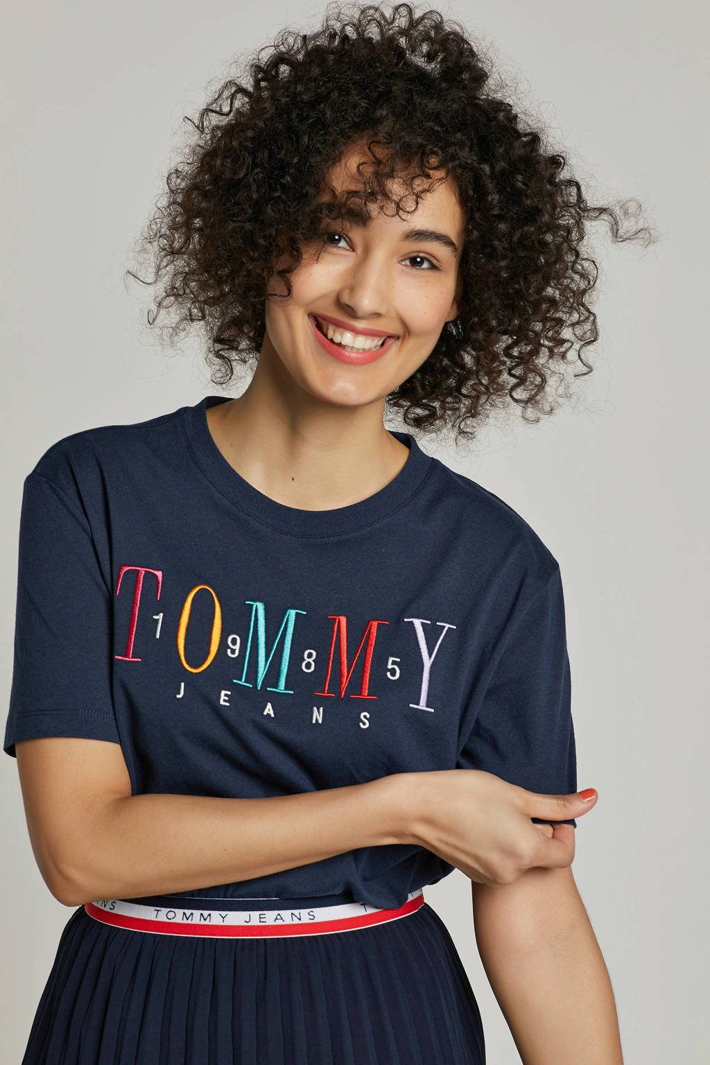 Met Tommy Jeanst shirt Donkerblauw Opdruk Oqf7q