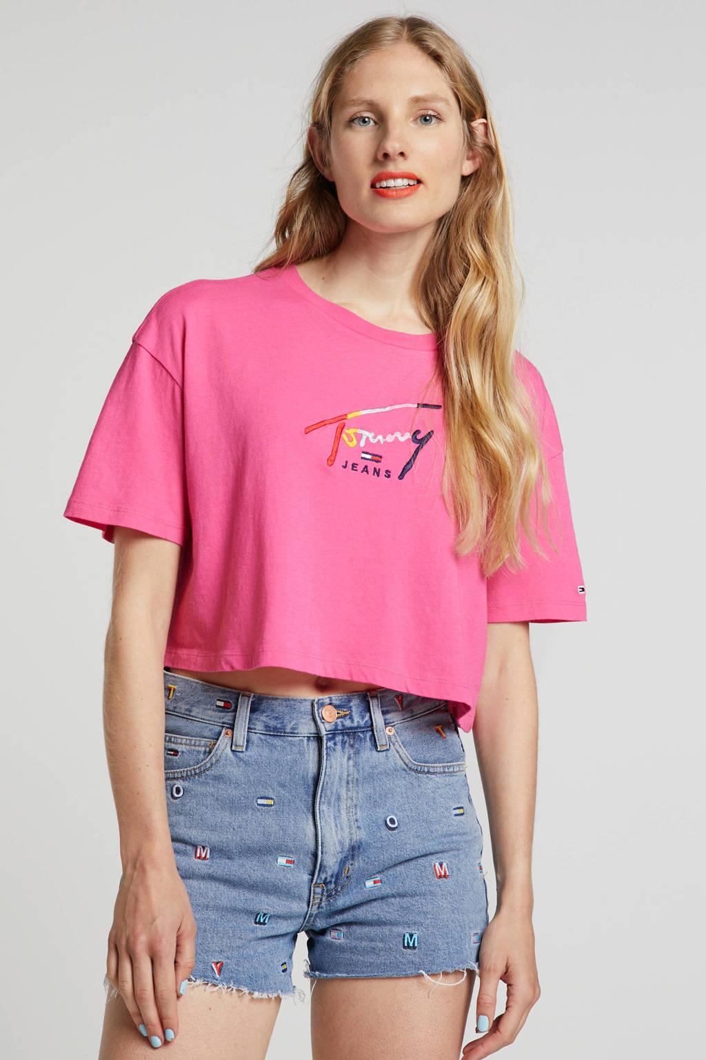 Tommy Jeans Croptop met borduursels roze, Roze