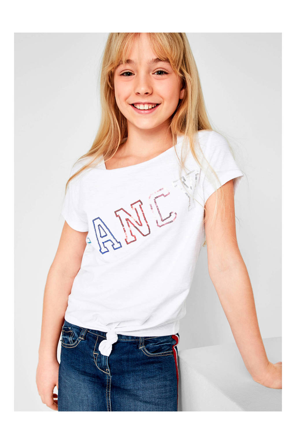 goed uit x koop uitverkoop laagste korting s.Oliver T-shirt met knoop en tekst wit | wehkamp