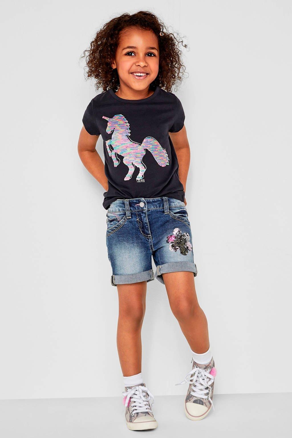 s.Oliver regular fit jeans short met pailletten, Dark denim