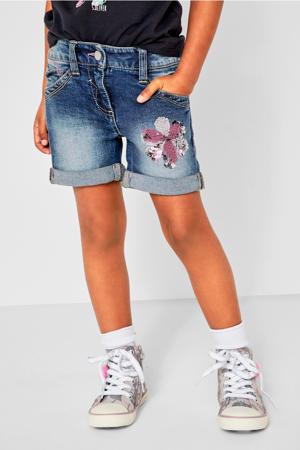 regular fit jeans short met pailletten